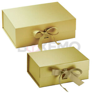 Gold Gift Box With Ribbon - Two Sizes - Magnetic Box - Large Gift Box - Gold