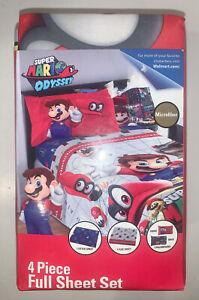 Nintendo Super Mario Odyseey 4-Piece Fitted Full Sheet Set NIB. It's a Me!