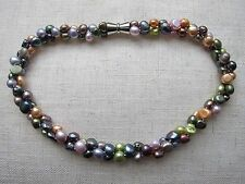 "2 Row Multicolored Baroque Freshwater Pearl Necklace 20"" long 7/9 mm."