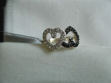 DOUBLE HEART BLACK SPINEL AND WHITE TOPAZ GOLD OVER SILVER RING 0.53 CTW