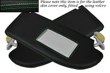 GREEN STITCH FITS SEAT IBIZA MK4 CORDOBA 02-08 2X SUN VISORS LEATHER COVERS ONLY