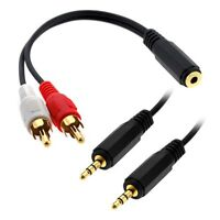 3.5mm Stereo Female to 2 RCA Male Y-Cable + 6FT 3.5mm Male to Male Cable