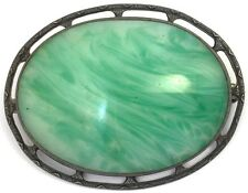 ANTIQUE STERLING BROOCH GREEN GLASS CABOCHON ACCENT ART DECO SILVER JEWELRY