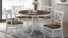Timber Dining Set, Crossback Small 5 piece Dining Set. White and Antique Oak