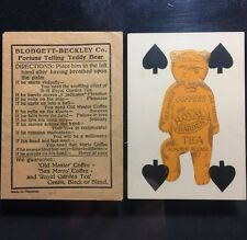 c1930 Palm Moving Celluloid Fortune Telling Teddy Bear & Playing Card B&B Coffee