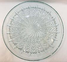 "Serving Platter Tray Blue Glass Elegant Snowflake Swirl Leaf Design 14"""