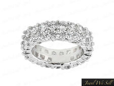 Band Ring 14k White Gold F Vs2 4Ct Diamond Staggered 2Row Shared Prong Eternity