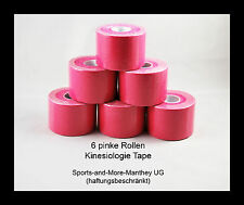 6 pinke Rollen Kinesiologie Tape 5 cm x 5 m Pink Physio Sport