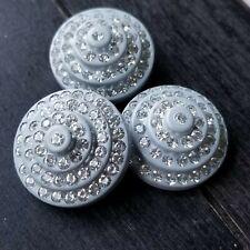 Vtg LOT ART DECO WEDDING CAKE EARLY PLASTIC Shank Buttons GRAY CLEAR RHINESTONES