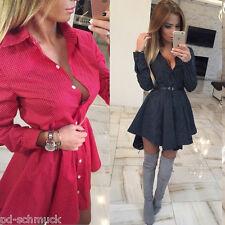 Damen Kleid Longshirt Bluse Mini Kleid Langarm V-Ausschnitt Dots M16197
