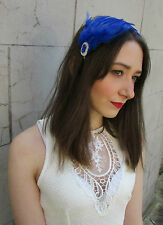 Blue Silver Feather Headpiece Fascinator Headband Vintage Flapper 1920s N67BLUE