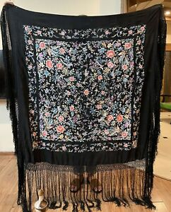 Antique Chinese Hand Embroidered  Pure Silk Piano Shawl 135 X 135 Fringe 50 Cm