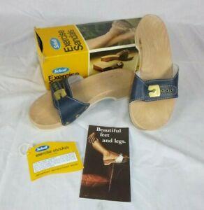 NEW Vtg 1977 Dr Scholl Exercise Sandals Blue Size 7 Orig Box Austria Deadstock