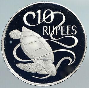 1974 SEYCHELLES UK Queen Elizabeth II VINTAGE Turtle SILVER 10 Rupee Coin i89914