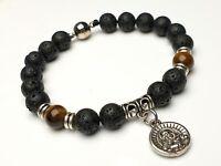 Armband mit Lava - Tigeraugen Perlen Magnetverschluss Buddha Anhänger   Ø 8 mm