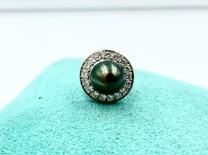 Art Deco 18 Diamond Black Pearl Platinum Tie Tack Brooch Pin