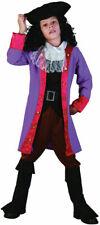 Children Boys Purple Jack Sparrow Pirate Captain Hook Fancy Dress Costume