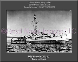 USS French DE 367 Personalized Canvas Ship Photo Print Navy Veteran Gift