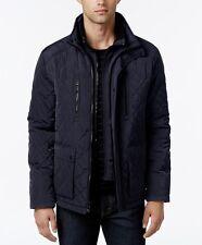 NWT Calvin Klein Men Quilted Stand-Collar Dark BLUE-Midnight Jacket XL~MSRP$250