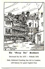 POSTCARD * THE GEORGE INN SOUTHWARK * PENCIL DRAWING