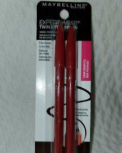 2PC MAYBELLINE TWIN EYE & BROW WOOD PENCIL LINER 101 VELVET BLACK EXPERTWEAR