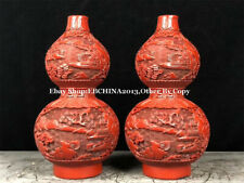 """9"""" Collect China Fengshui Lacquer ware Wood Gourd Flower Vase Bottle Pot Pair"""