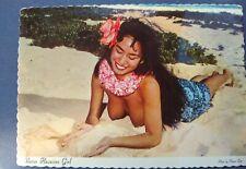 Hawaii Hawaiian Beauty BARE BREASTS Nude In the sand 4x6 postcard