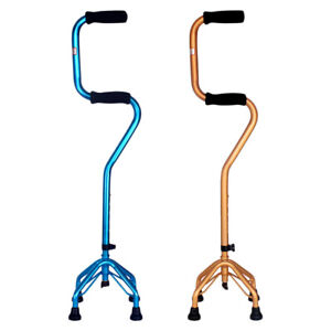 Adjust Anti Slip Walking Quad Cane Offset Balance Stick with Soft Foam Grip
