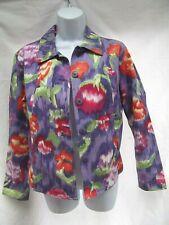 Coldwater Creek lightweight jacket button shirt abstract art purple red S NEW