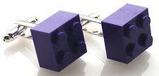 LEGO Plate Cufflinks PURPLE SILVER PLATED - FREE POSTAGE + FREE ORGANZA BAG