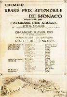 AV30 Vintage 1929 Monaco Grand Prix Motor Racing Poster Re-Print A2 A3