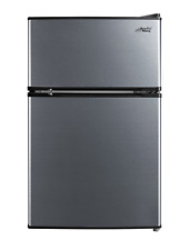 New listing 3.2 Cu Ft Two Door Compact Refrigerator with Freezer, Stainless Steel