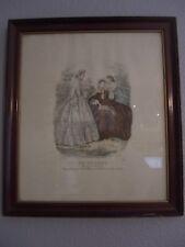 "Vintage ""LE FOLLET"" By Boulevart St. Martin Numbered Print in Antique Wood Frame"