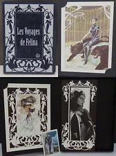 """Portfolio """"Les Voyages de Félina"""", 12-ex-libris signés et numérotés, 2/200 ex"""
