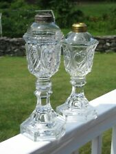 Beautiful Pair of ca.1830's Heart Patterened Whale Oil Lamps