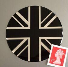 Union Jack Flag Sticker Domed Finish Black & Chrome 75mm Diameter