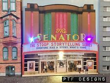 """""""MOVIE THEATER"""" O Scale Scratch Built Building Flat-Front w/ LEDs"""