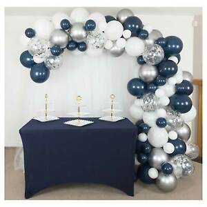 SHIMMER & CONFETTI Premium 16ft Navy Blue Silver & White Balloon Garland Kit