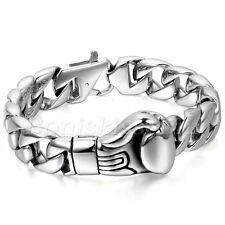 Men Polish Punk Rock Stainless Steel Curb Chain Link Boxing Boxer Glove Bracelet