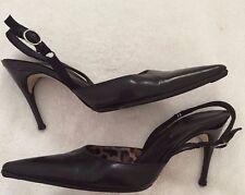 Dolce&Gabbana Pointy Black Slingback Heels Size 7 Skinny Heel