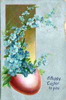 1908 RAPHAEL TUCK Vtg Easter Postcard No. 112 Egg Blue Iris Flowers Embossed KH