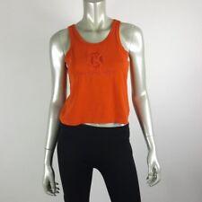 Calvin Klein Womens Vintage Crop Top Medium Orange Embroidered Spell Out Logo