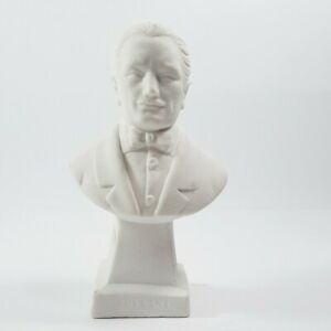 Giacomo Puccini Bust Composer Statue Sculpture White Salt Chalk Column Approx 6""