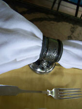 SUPERB VICTORIAN SILVER PEWTER FOOTED NAPKIN RING SWEET TURTLE ON SAND MOTIF