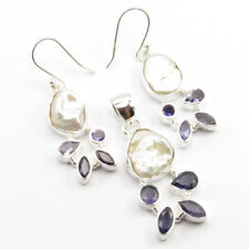 925 Silber Echt Biwa-See Perle & Iolite Ohrringe Anhänger Set
