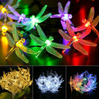 Outdoor Battery Powered LED Dragonfly String Light Garden Xmas Yard Lamp Decor