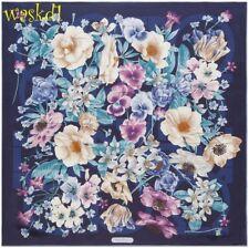 SALVATORE FERRAGAMO midnight blue FLORAL GANCINI silk twill scarf NIB Auth $380!
