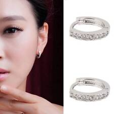 925sterling Silver Huggie Hoop Earrings With Crystals Charm Fashion Stud Jewelry