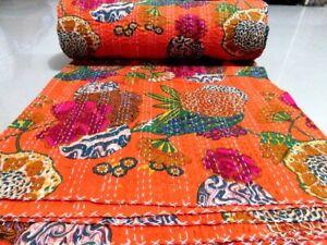 Indian Vintage Quilt Kantha Fruit Print Bedspread Cotton Blanket Ralli Gudari