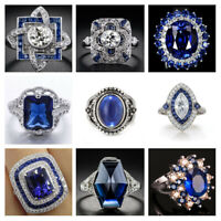 White Topaz & Blue Sapphire 925 Silver Wedding Bridal Ring Women Jewelry 5-11